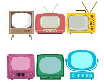 tv television retro cuttable design png dxf svg eps file silhouette designs cameo