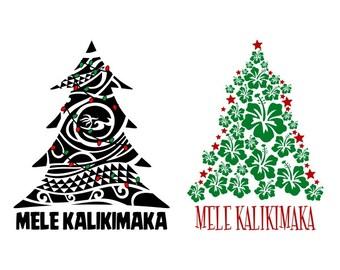 hawaii mele kalikimaka tree christmas cuttable design png dxf svg eps file silhouette designs cameo - Hawaiian Merry Christmas Song