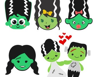 Frankenstein Bride Halloween Cuttable Design PNG DXF SVG & eps File Silhouette Designs Cameo
