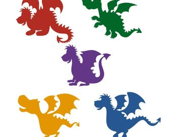 Dragon Lizards Cuttable Design PNG DXF SVG & eps File Silhouette Designs Cameo