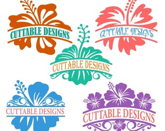 Hibiscus Hawaii Hawaiian Flowers Frame Monogram Cuttable Design PNG DXF SVG & eps File Silhouette Designs Cameo