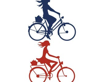 Girl Riding Bike bicycle silhoutte Cuttable Design PNG DXF SVG & eps File Silhouette Designs Cameo