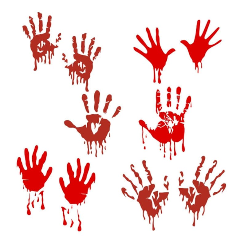 Halloween Bloody Hands Cuttable Design PNG DXF SVG & eps File Silhouette  Designs Cameo