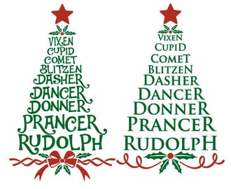 Reindeer Names Christmas Tree PNG DXF SVG & eps File Silhouette Designs Cameo