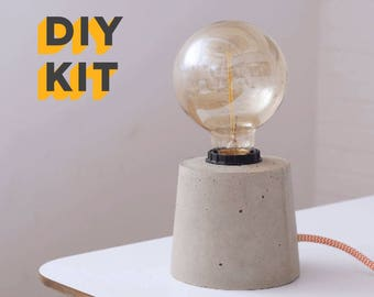 Lamp kit etsy diy concrete lamp kit and edison bulb textile cable concrete lamp concreteconcrete table lamp industrial lamp light concrete light greentooth Images