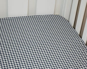 Fitted Cot Sheet (Blue Check)