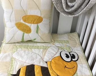 Cot Quilt - handmade unique range. 'My Goggle Eyed Friends' - For the Love of Bees- No1