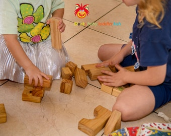 Wooden Blocks for (baby - kids - toddler)  - 40 handmade blocks with fully lined drawstring bag - eco friendly - educational - creative