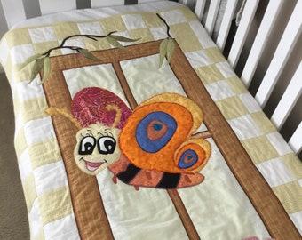 Cot Quilt - Handmade, unique , Lazy Dayz - 'My Goggle Eyed Friend' range