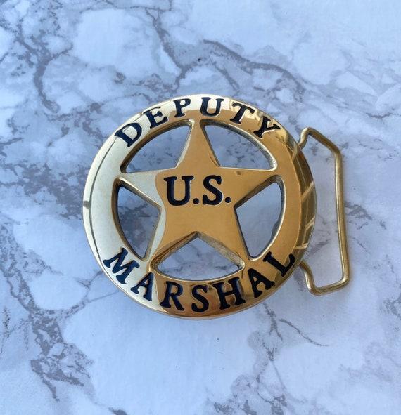 Vintage Men/'s Belt Buckle US Deputy Marshal Solid Brass Chrome Plated 1980s