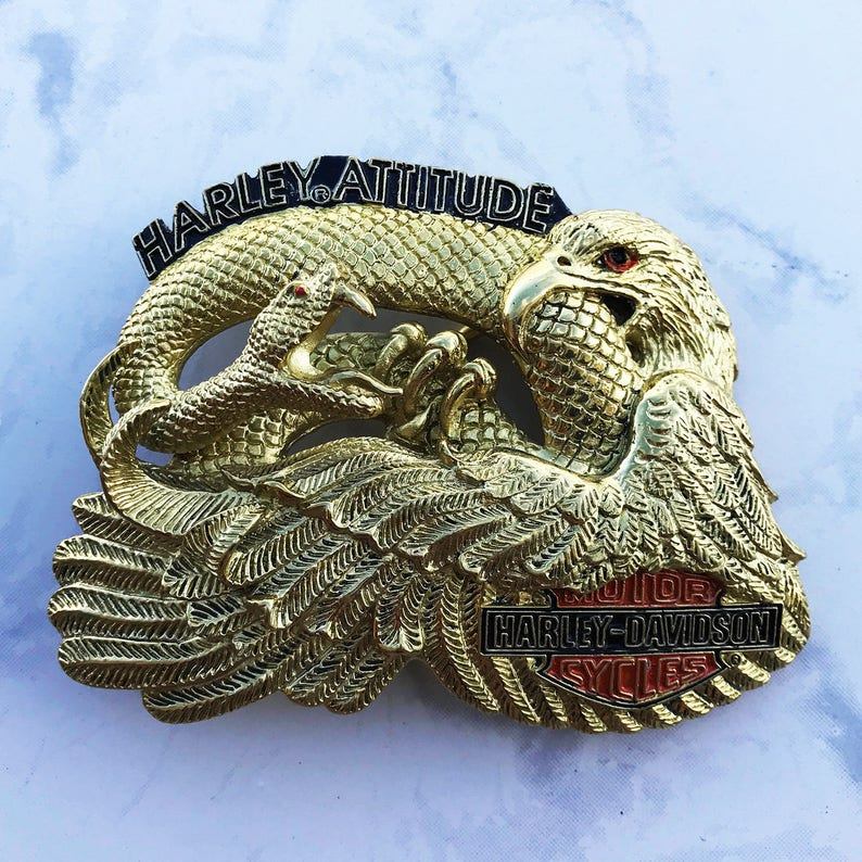 Vintage Harley Men's Belt Buckle Eagle and Snake Harley Attitude Solid  Brass 1993 Baron Buckles