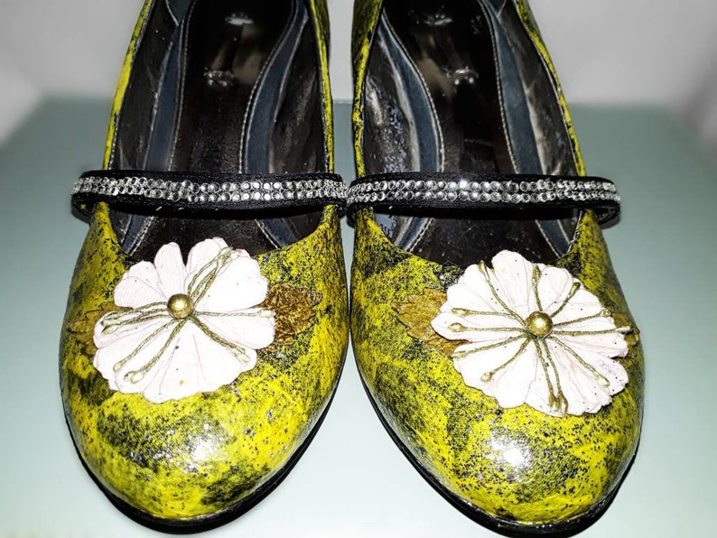 Upcycled  Recycled Yellow Glitter Flower Design Women/'s Mary Jane Shoes UK Size 6 By Glitter Moone on Etsy
