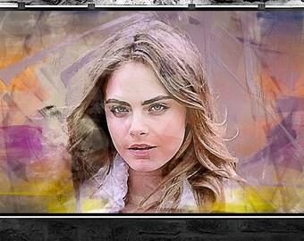 Cara Delevingne abstract painting, Cara Delevingne digital art. Cara Delevingne abstract original painting
