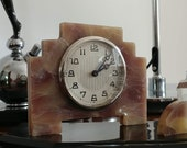 ART DECO Desk Clock , Glass Inkwell and Pen holder - Bakelite- Beautiful