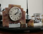 Small ART DECO Desk Clock , Glass Inkwell and Pen holder - Bakelite- Beautiful