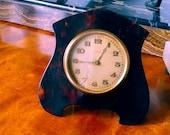 Antique Early Small ART DECO Tortoiseshell BOUDOIR Clock