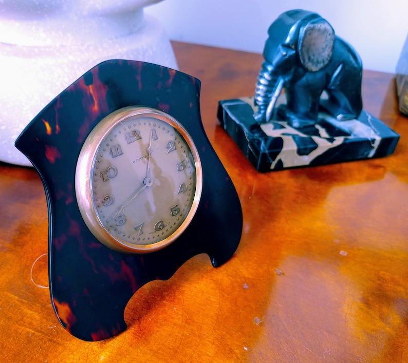 Antique Early Small ART DECO Tortoiseshell BOUDOIR Horloge