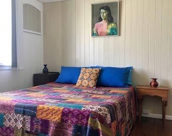 Vintage Silk Bedspread handmade using Vintage Saris  - King size