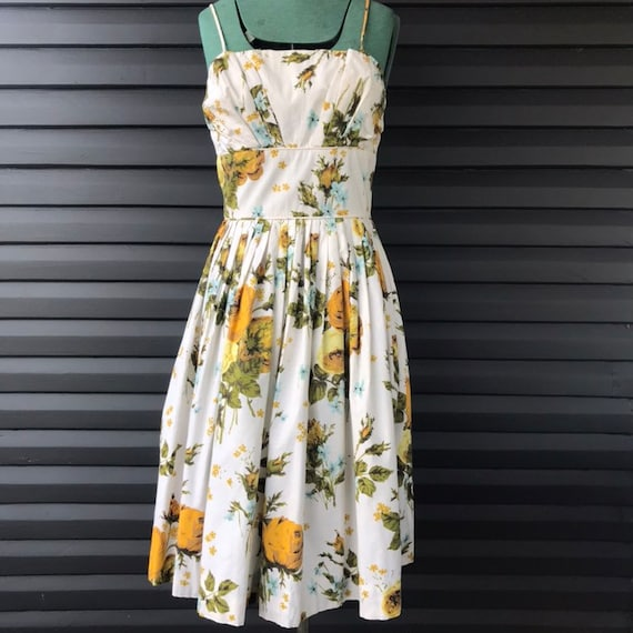 1950's Cotton Floral Day Dress - Homemade