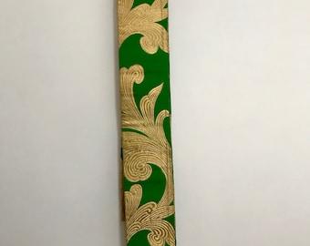 Vintage Silk Obi Sash - Green and Gold