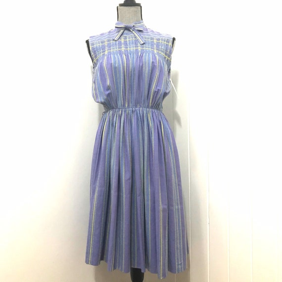 1940's Cotton Smocked & Embroidered Day Dress - image 1