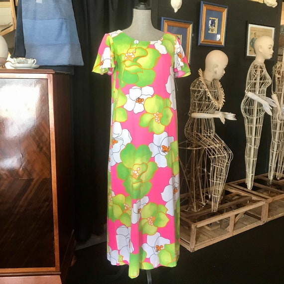 Vintage 1960's Cotton Floral Maxi Dress by Malihin