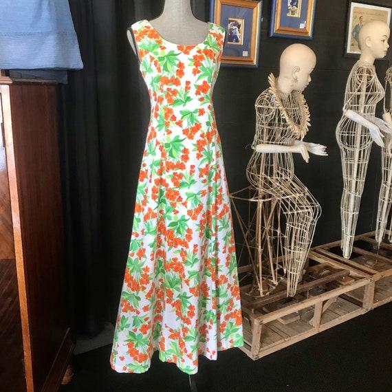 Vintage 1970's Cotton Floral Maxi Dress by David J