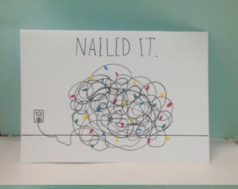 nailed it funny christmas cards funny holiday cards tangled christmas lights tangled lights card - Tangled Christmas Lights