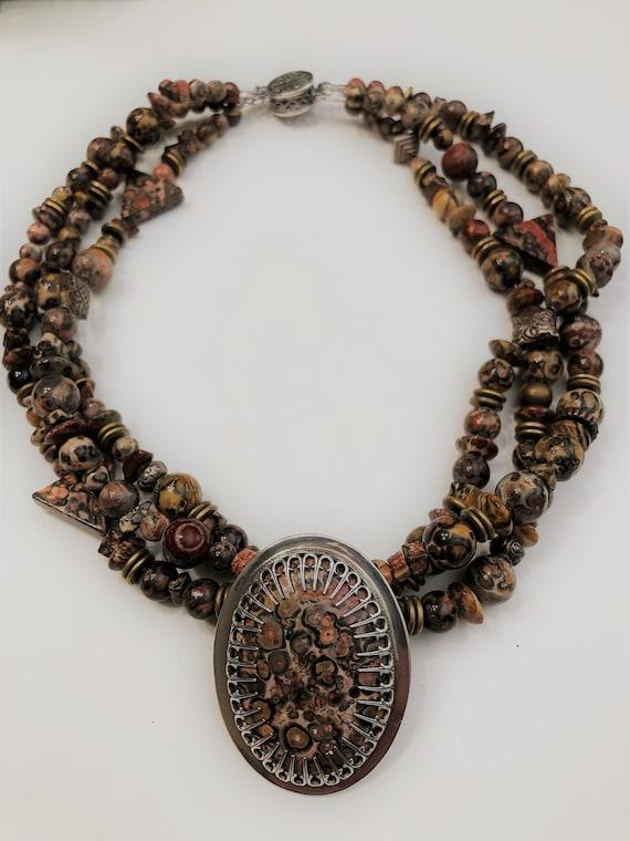 Leopard Skin Jasper Necklace in Sterling Silver