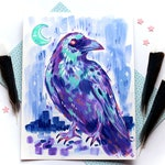 Nighttime Crow, Original Acrylic Painting // Purple and Blue Stylized Bird Illustration