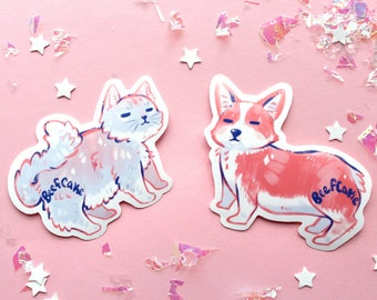 Beefcake Cat and Corgi Vinyl Stickers - Water-resistant and Durable // Cute Animals Stickers