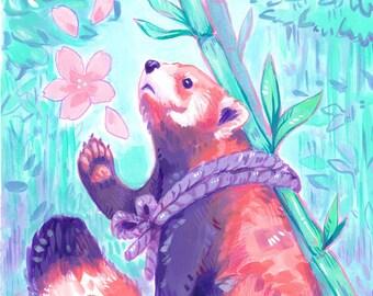 Red Panda Original Acrylic Painting - Cute Pastel Animal Illustration