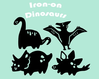 Cute Dinosaurs - Vinyl Iron-on Designs for Shirts, Bags, and Fabrics // Silly Animal Dino Pattern