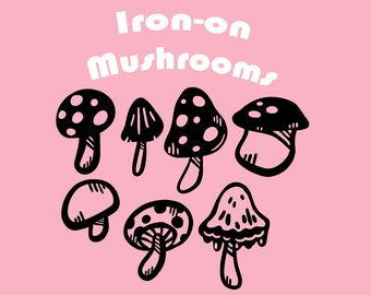 Cute Mushrooms - Vinyl Iron-on Designs for Shirts and Bags // Quirky Forest Inspired