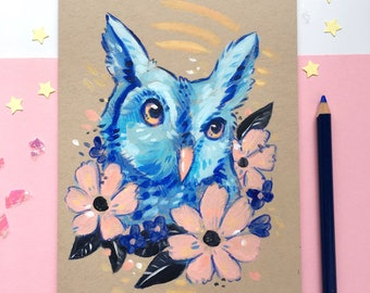 Blue Horned Owl with Flowers - Original Pink and Blue Wildlife Illustration in Acrylic