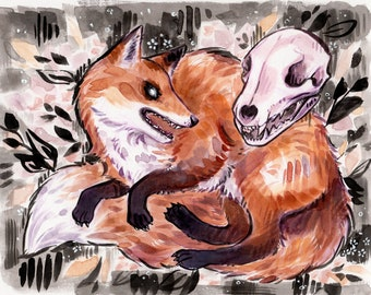 Watercolor Fox Art Print - Spooky Inktober Animal Illustration with Skull and Flowers