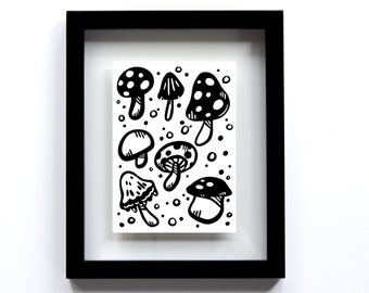 Black and White Mushroom Design Print - Quirky Printable Wall Art with Polka Dots