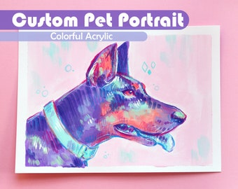 Custom Pet Portrait Painting // Rainbow, Quirky, Colorful Acrylic Art Commission // Hand-painted from Photo