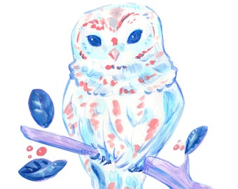 Pink and Blue Owl Print - Instant Download Pastel Wall Art