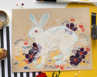 Ethereal Hare - Original Painting - Gouache and Metallic Ink on Toned Paper