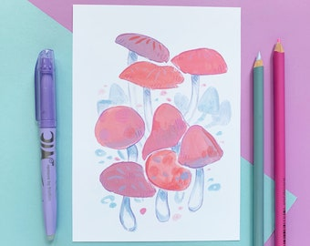 Pastel Pink Mushroom Print for Instant Download - Simple, Quirky and Cute Wall Art