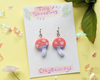 Tiny Mushroom Earrings - Cute Handmade Polymer Clay Jewelry // Quirky Forest Inspired