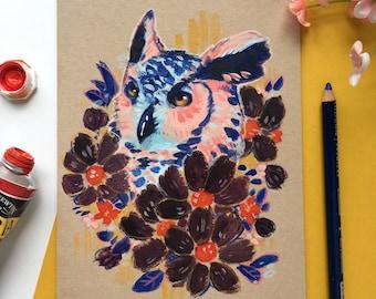 Floral Owl Portrait - Original Stylized Wildlife Illustration; Colorful Acrylic on Paper