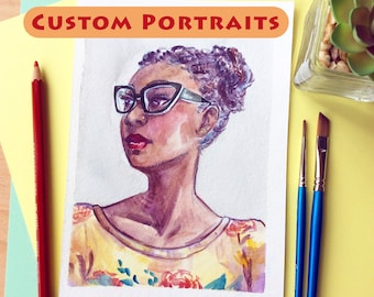 Custom Watercolor Portrait - Personalized Art Commission // Hand Painted from Photo, Made to Order