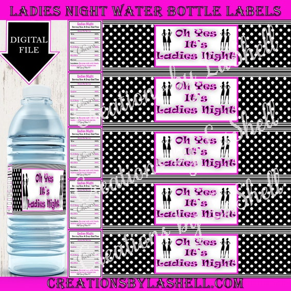 graphic relating to Waterproof Printable Labels referred to as Gals Night time/water-resistant label/bachelorette celebration/Customized Labels/women of all ages evening/get together/bottle wrapper/sticker label/printable/occasion want\\drinking water