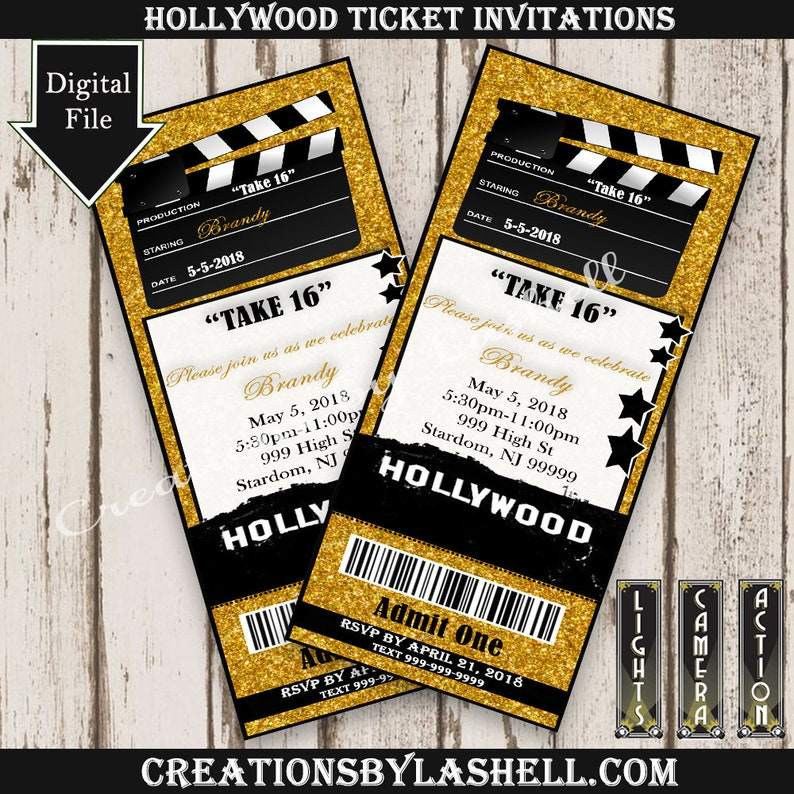 Hollywood Ticket Invites Hollywood Theme Ticket Invite Digital Hollywood Glam Custom Invites Sweet 16 Invites Hollywood Party Sweet 16 Theme