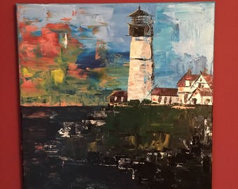 Acrylic Lighthouse painting impasto palette knife