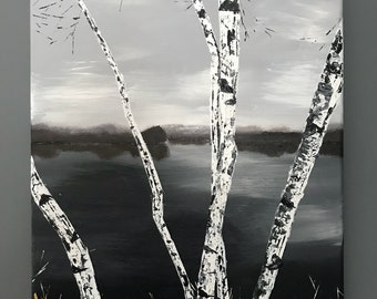 Birch trees lake acrylic palette knife painting