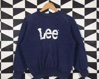 front print lee green KK07334 vintage sweater 90s LEE Vintage Sweatshirt back print lee clothing 90s clothing