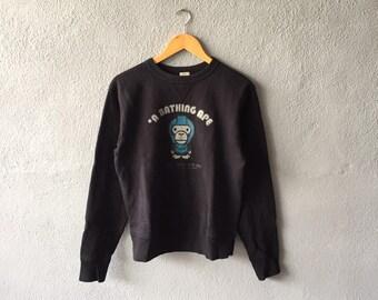 6bfa70b7e0a9 Vintage 90s Baby Milo By A Bathing Ape Big Logo Printed Sweatshirt Crewneck  A Bathing Ape Pullover Black Colour Size XS S